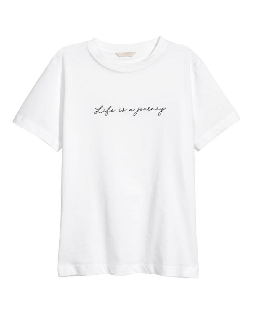 """T Shirt with Embroidery 'Life is a Journey""""  H&M £19.99"""