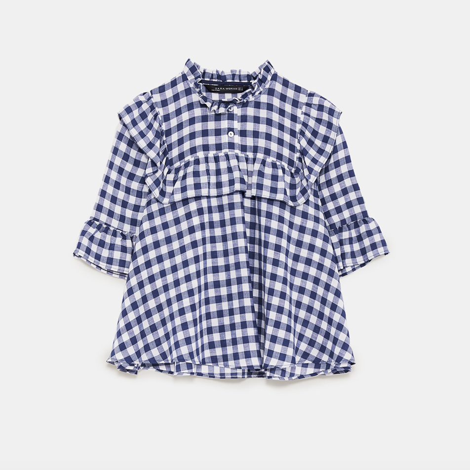 Gingham Ruffle Top  Zara £29.99