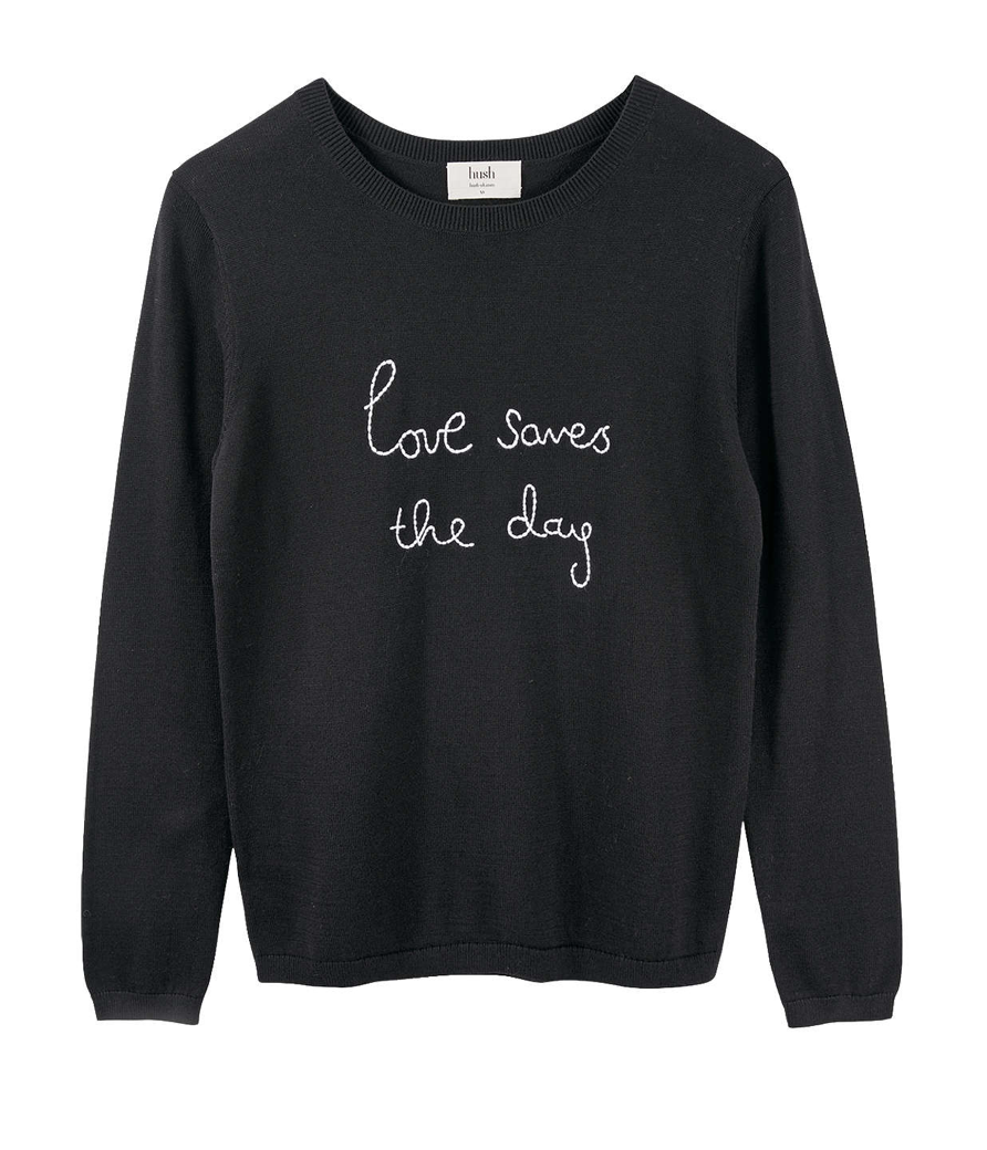 'Love Saves the Day' Embroidered Jumper  Hush £75