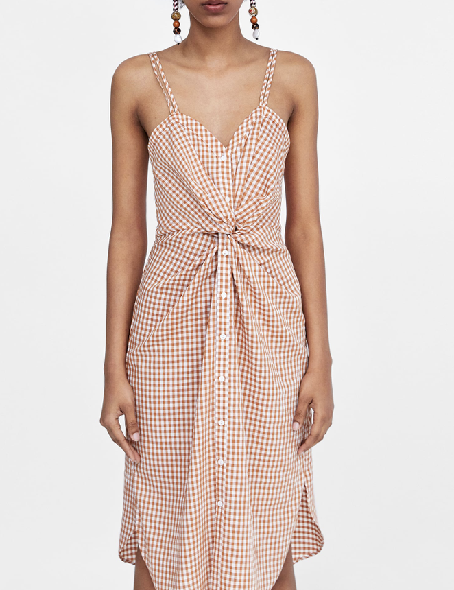 Checked Dress with Knot Detail  ZARA £39.99