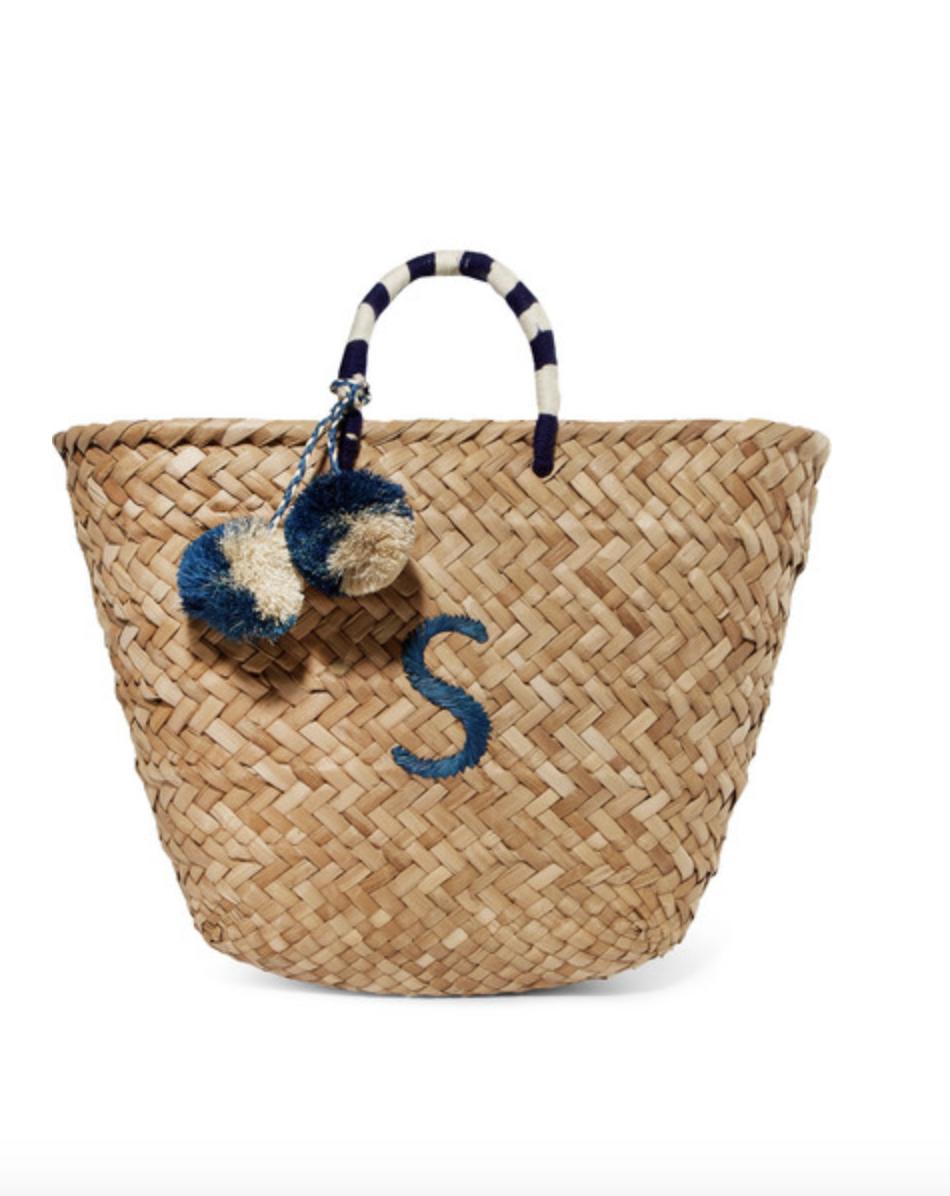 Pom Pom Embroidered Straw Basket  KAYU £145