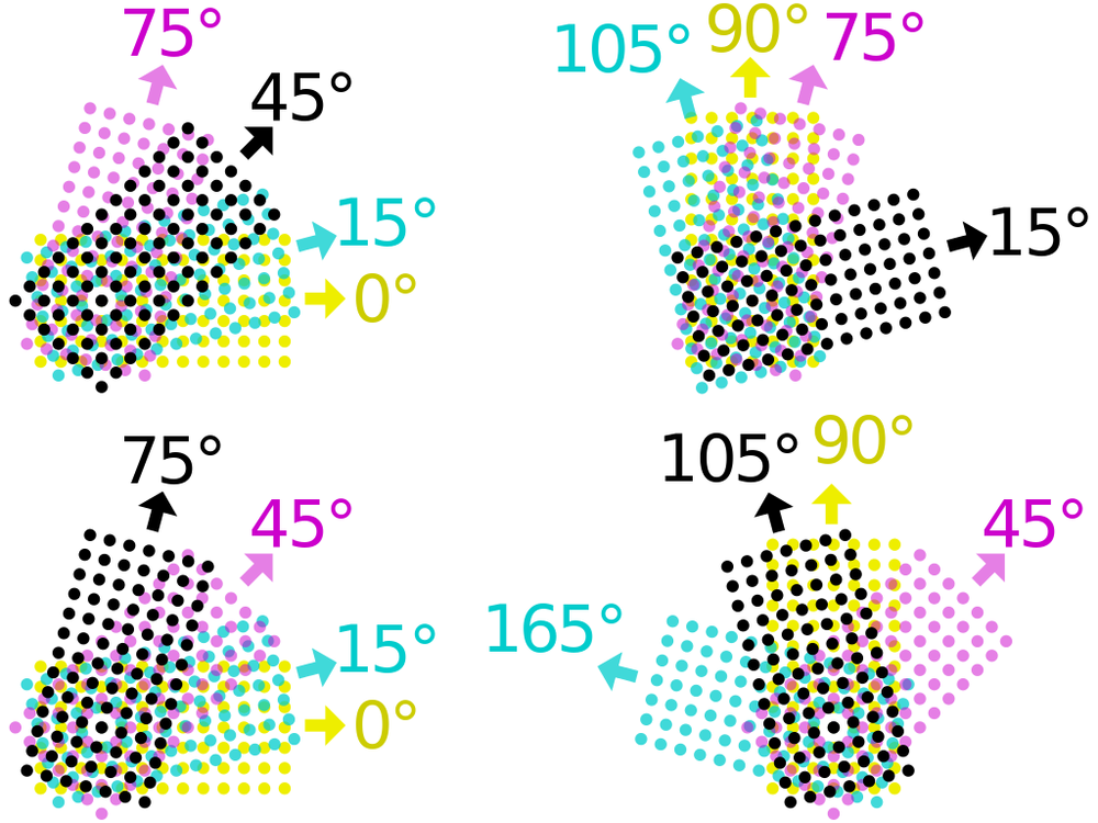 When converting your image to a bitmap, after deturmining the DPI, you need to set the angle for each layer. This image, and more info from  here . As you can see, getting the angle right will prevent patterning on the surface. I generally use the one on the top-right, which results in the most even distribution of color with the least patterning.
