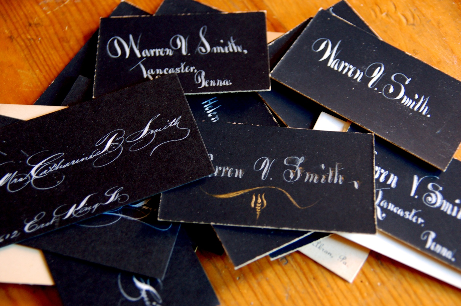 Victorian Calling Cards (white ink on black cards!)