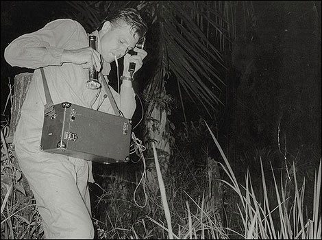 Young David Attenborough recording frog chorus in Sierra Leone in the 1950s