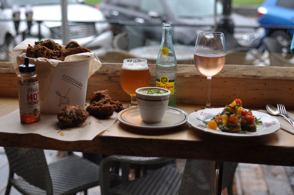 Fried Chicken Bruschetta Rose Soup Beer.JPG