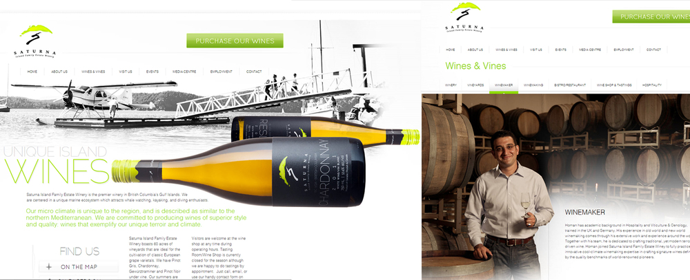From product, to portrait - a cohesive, elegant look for Saturna Island Winery.