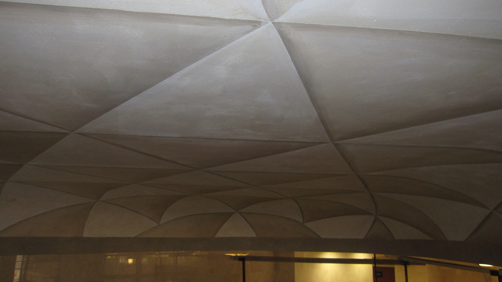 mural for Ditmar. The ceiling is 20 feet by 40 ft. The triangles  tessellate into doves. Inspired by Esher