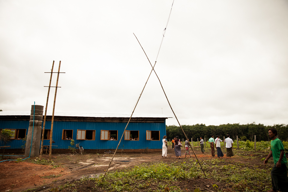 Power lines leading to one of the local schools.