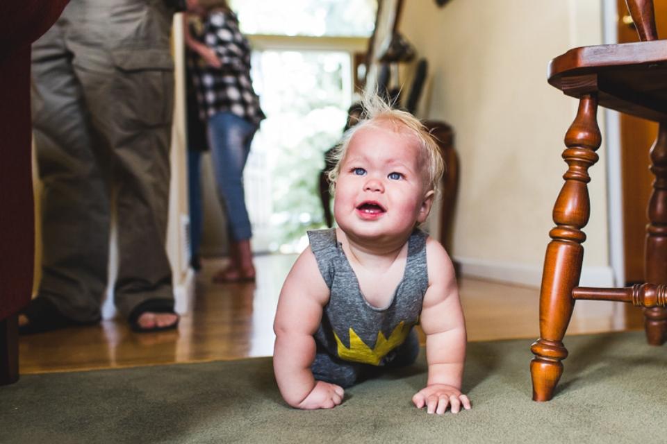 baby crawling at birthday party denver