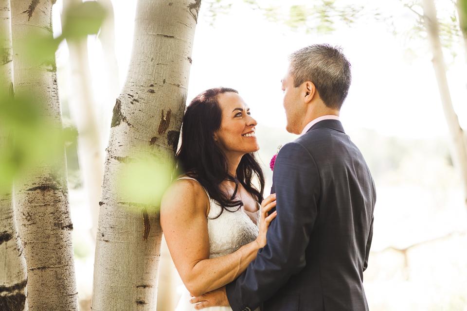 bride groom first look wedding in aspen colorado