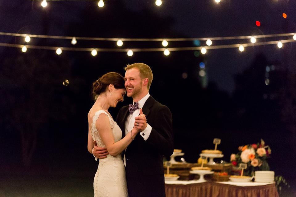 bride groom dancing under lights at wedding denver colorado