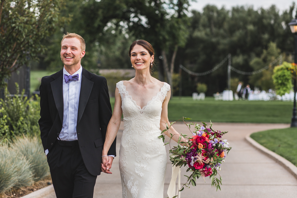 bride groom walking after first look in denver colorado