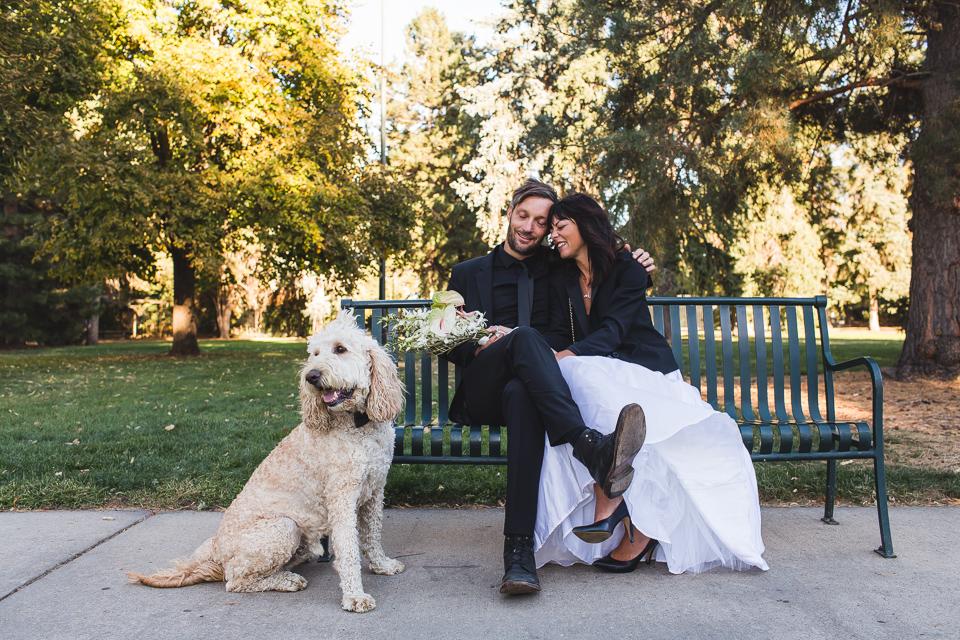bride and groom at congress park wedding denver colorado