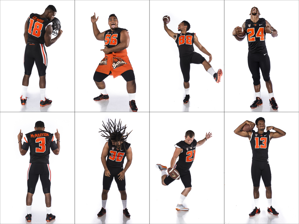 Oregon State Football players ham it up during photo shoot at Media Day. Top row L-R Malik Gilmore, Elu Aydon, Rahmel Dockery, Storm Barrs-Woods. Bottom Row L-R Marcus McMaryion, Ryan Navarro, Garrett Owens, and Jordan Villain.