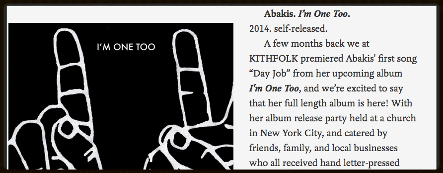 I'm ONE TOO ALBUM REVIEW: KITHFOLK MUSIC BLOG  - 2015