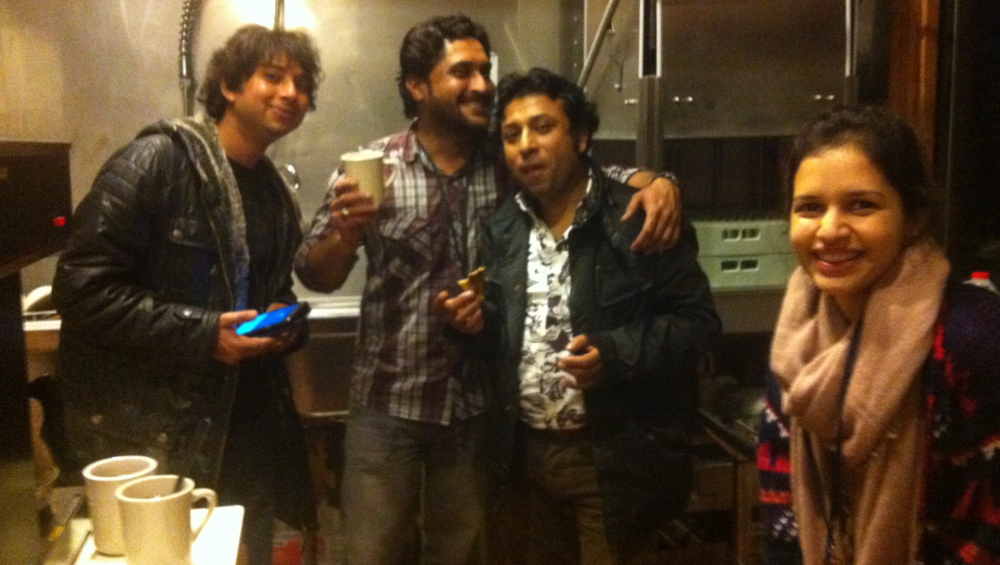 Sunny, Ali, Tanzeem, and Zee making cowboy coffee. Dosti Day 1, 1:00 am.