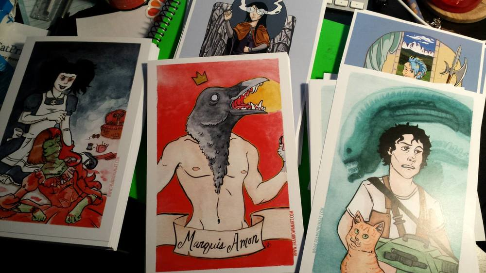 "A peek at my post cards prints in very bad lighting. They are 9""x6"""