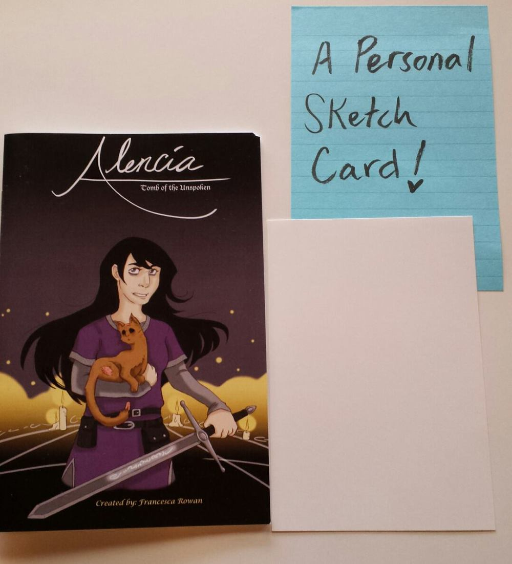 """Art Card Pack,"" featuring the new Alencia book and a personalized A6 sized art card. The winner will get to choose what I draw on it!"