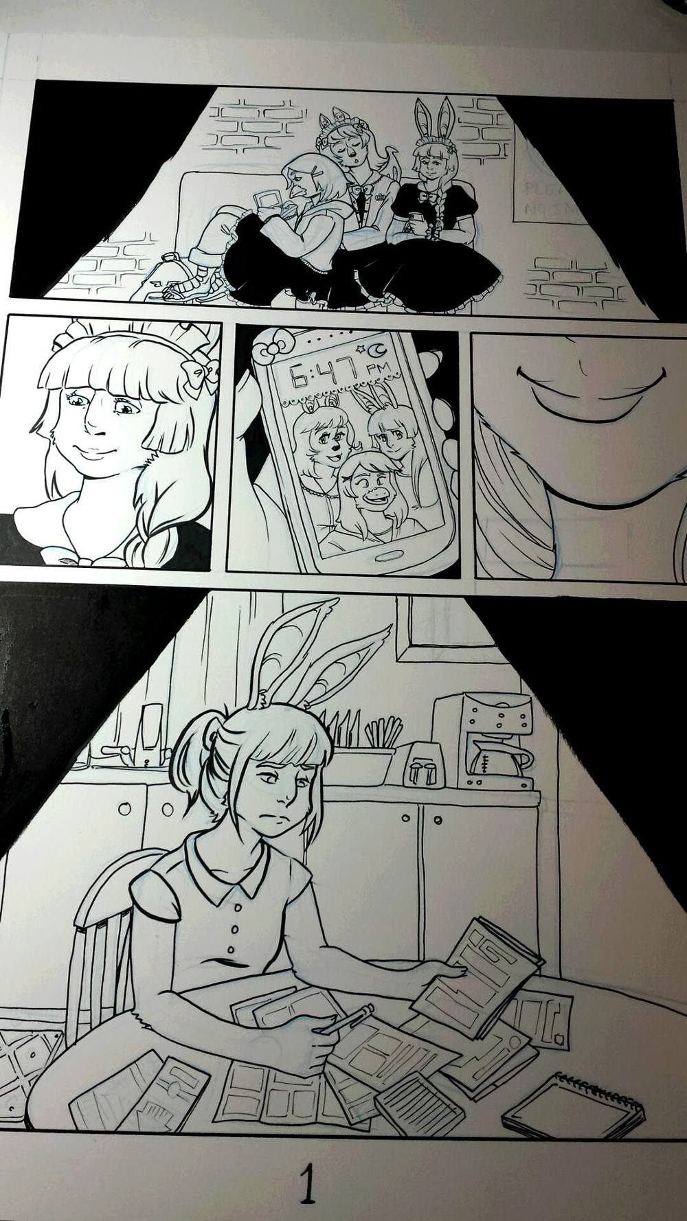 Photo of the first page right after I finished inking it (and smudging it, which will be fixed in Photoshop).  I decided to use a combination of liner pens and brush pens to ink this book, rather than the watercolor brush I ink Alencia comics with. I'm also considering doing Alencia comics in color in the future if I get more comfortable with coloring.