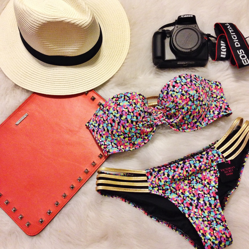 Rebecca Minkoff clutch, Victoria's Secret bikini, Forever 21 Panama hat, Canon EOS T3i Rebel camera