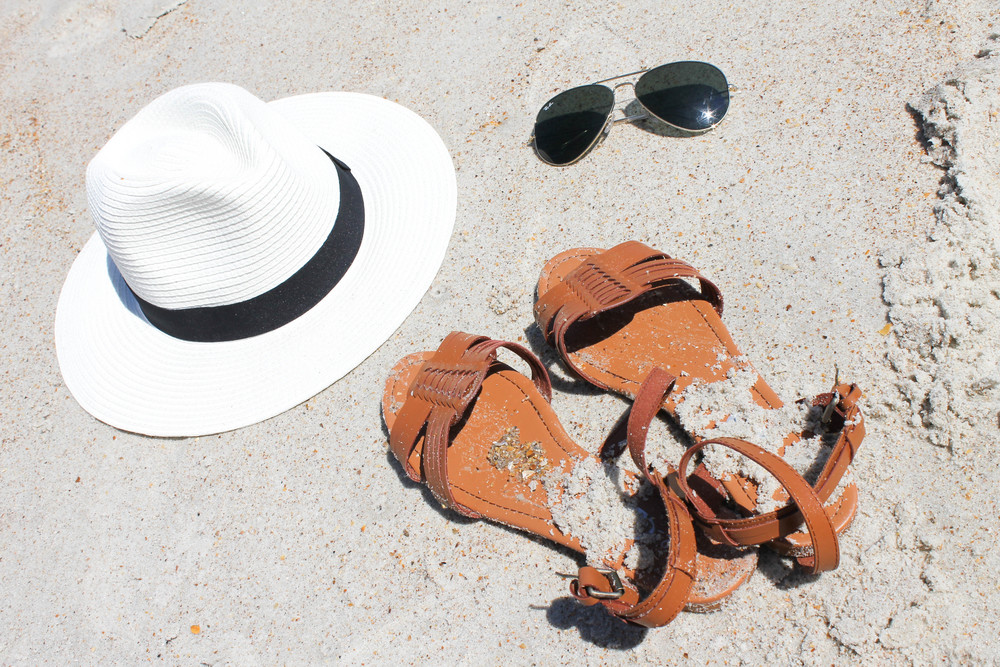 American Apparel bikini, Forever21 cover-up and hat, Rue21 sandals