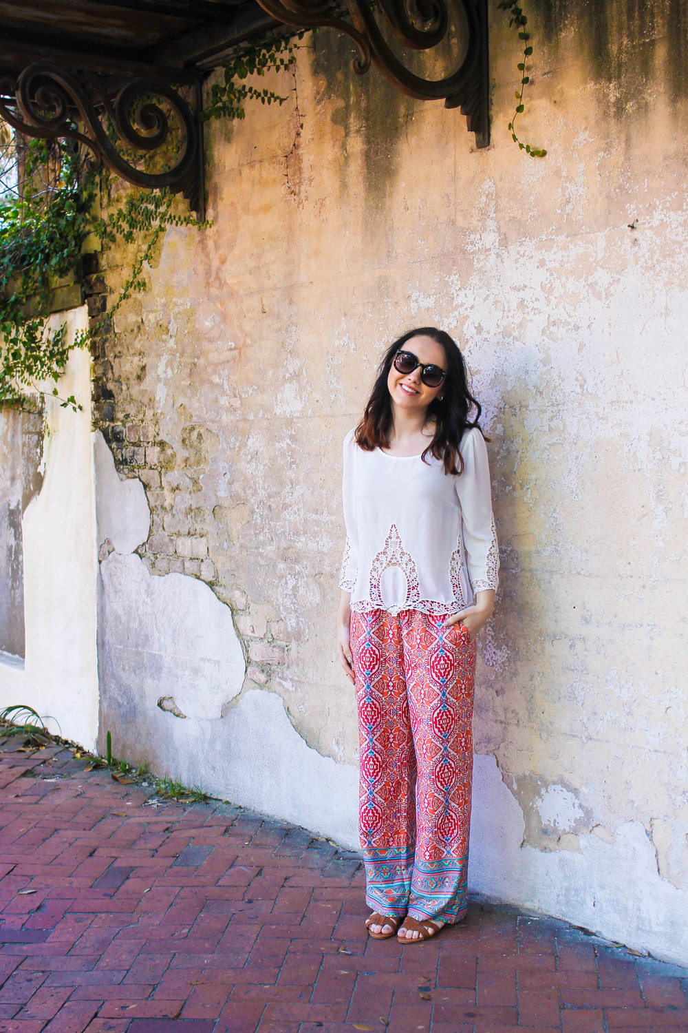 Lush top, Forever21 deco pants, Urban Outfitters sunglasses, Rue21 sandals