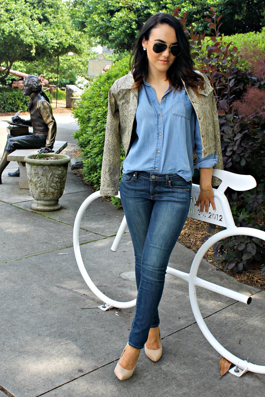 Thrifted snake-print jacket, AE chambray shirt, Paige denim, F21 pumps