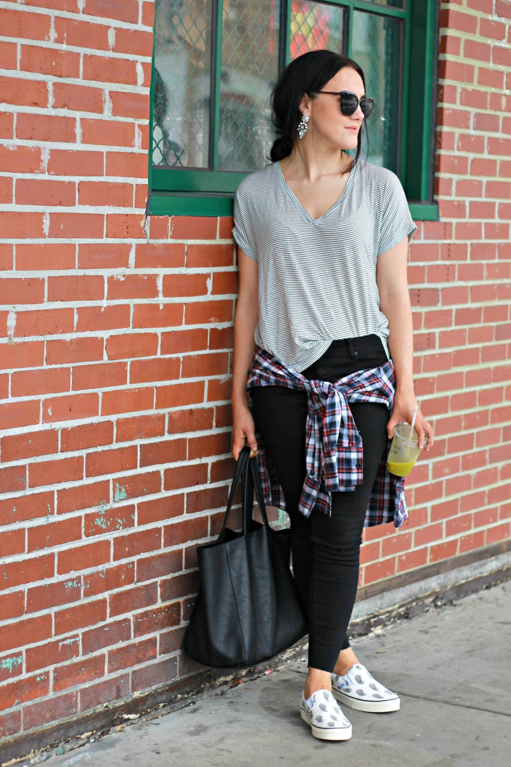 Zara TRF v-neck (soldout) similar (  here  ) (  here  )  Thrifted Flannel  Vans x Madewell slip-ons (soldout) similar (  here  ) (  here  )  F21 distressed denim (  here  )  Bauble Bar Aztec earrings (  here  )     Photos by Kristina Alexis