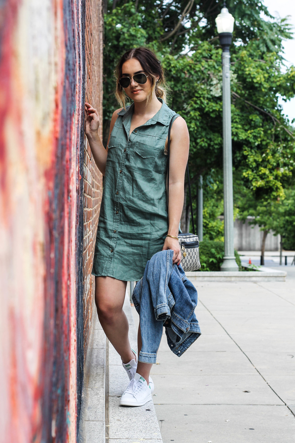 Forever 21 shirt-dress (   here   )  H&M denim jacket (   here   )  Adidas Stan Smith sneakers (   here   )  Ray-Ban Aviators (   here   )  Vintage Gucci