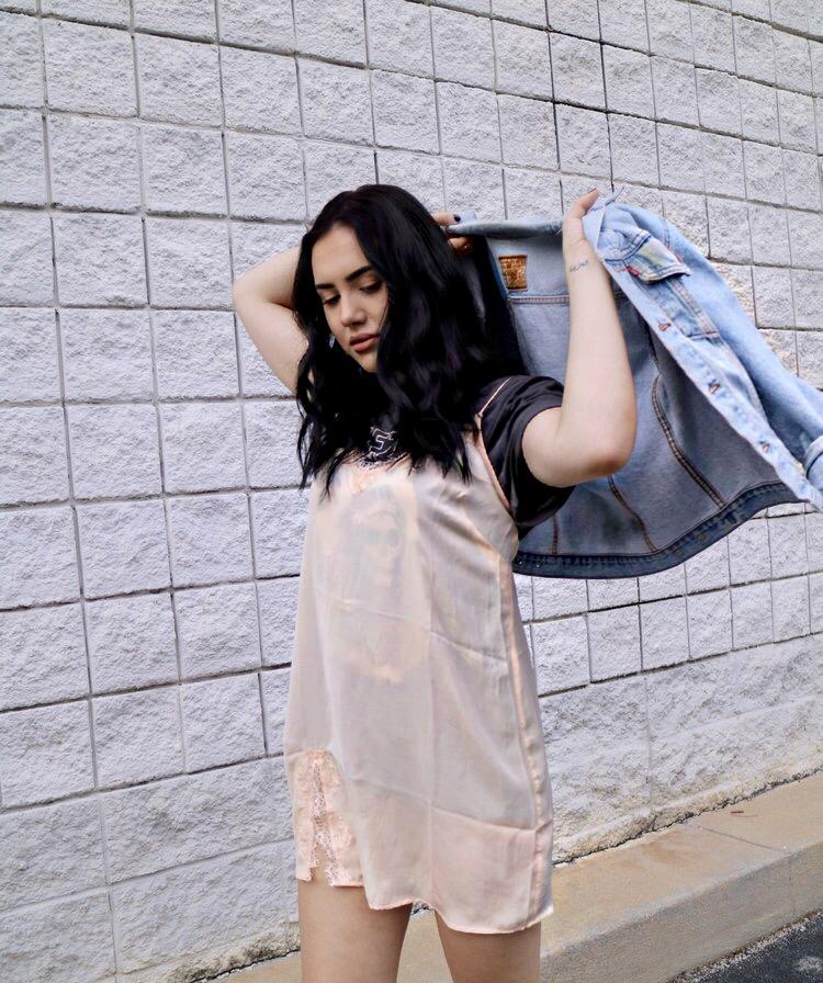 Urban Outfitters slip dress Yeezus tee Levis vintage denim jacket