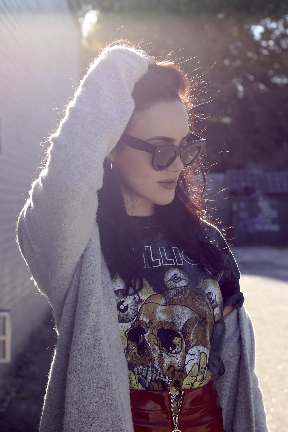 Urban Outfitters Metallica tee (men's) Zara patent leather mini skirt H&m booties Forever 21 knit cardigan Celine Sunglasses