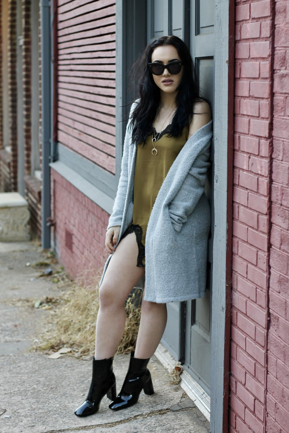 Urban Outfitters satin slip dress Forever 21 cardigan Misguided patent booties Celine sunnies