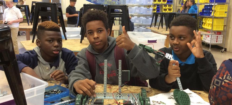 Robotics design students at Wright Middle School