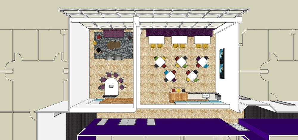 The floor plan of break room Option B.