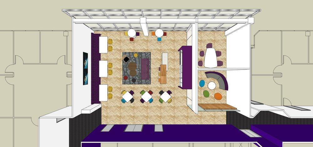 The floor plan of break room option C.