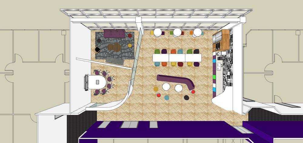 The floor plan of break room Option A.