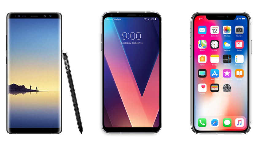The Samsung Note 8, LG V30, and Apple iPhone X (Source: Android Authority)