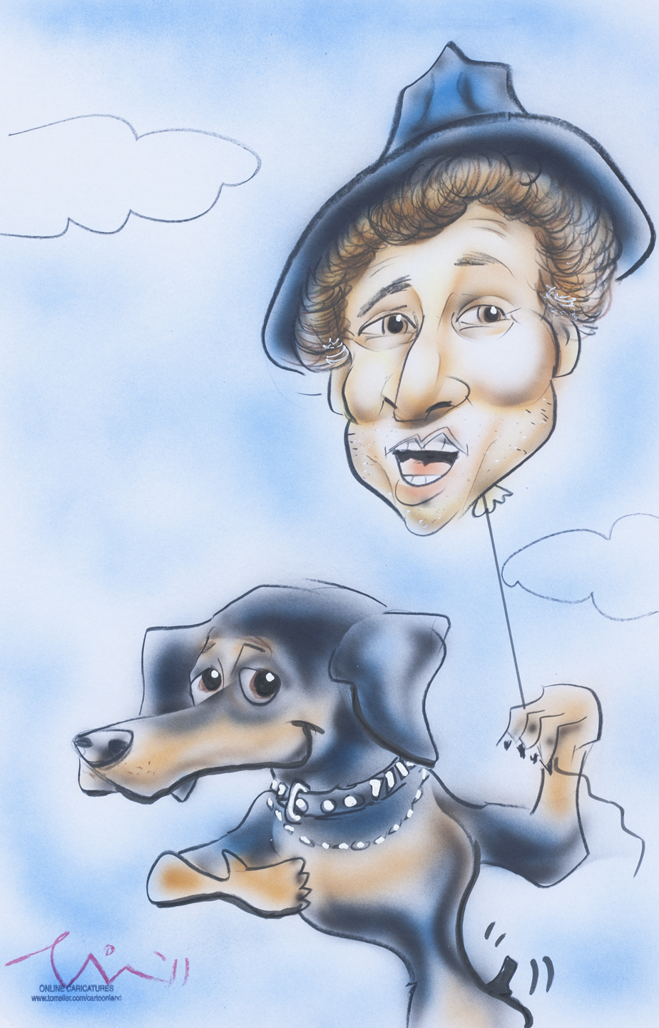Ruby and Magic Marc / July 14, 2011 / 11 x 17 Airbrushed Caricature by Tom Siler