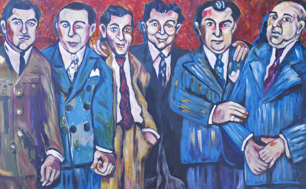Outside The Flame Cafe / Harold, Monte, Joey, Percy, Abe and Ray - The Percansky Brothers  January 21, 2011 / 30 x 48 Acrylic Painting on Canvas by Gretchen Seichrist