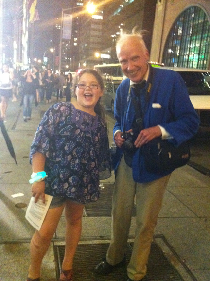 Basha Goldwater and Bill Cunningham Strike A Pose / Fashion's Night Out / On the Streets of New York City, New York / September 8, 2011 / Photo by Lisa Goldwater