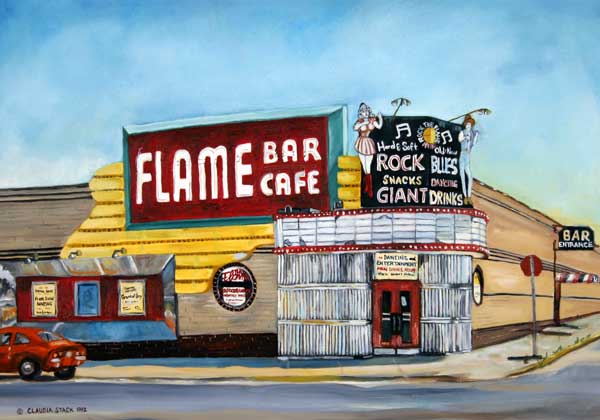 Flame Bar and Café Image ©1992  Claudia Stack . All Rights Reserved. Used With Permission.  Minneapolis, Minnesota