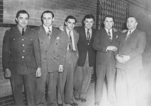 Harold, Monte, Joey, Percy, Abe and Ray / The Percansky Brothers / Outside The Flame Cafe/Minneapolis, Minnesota / Circa 1940's / Copyright Magic Marc Productions