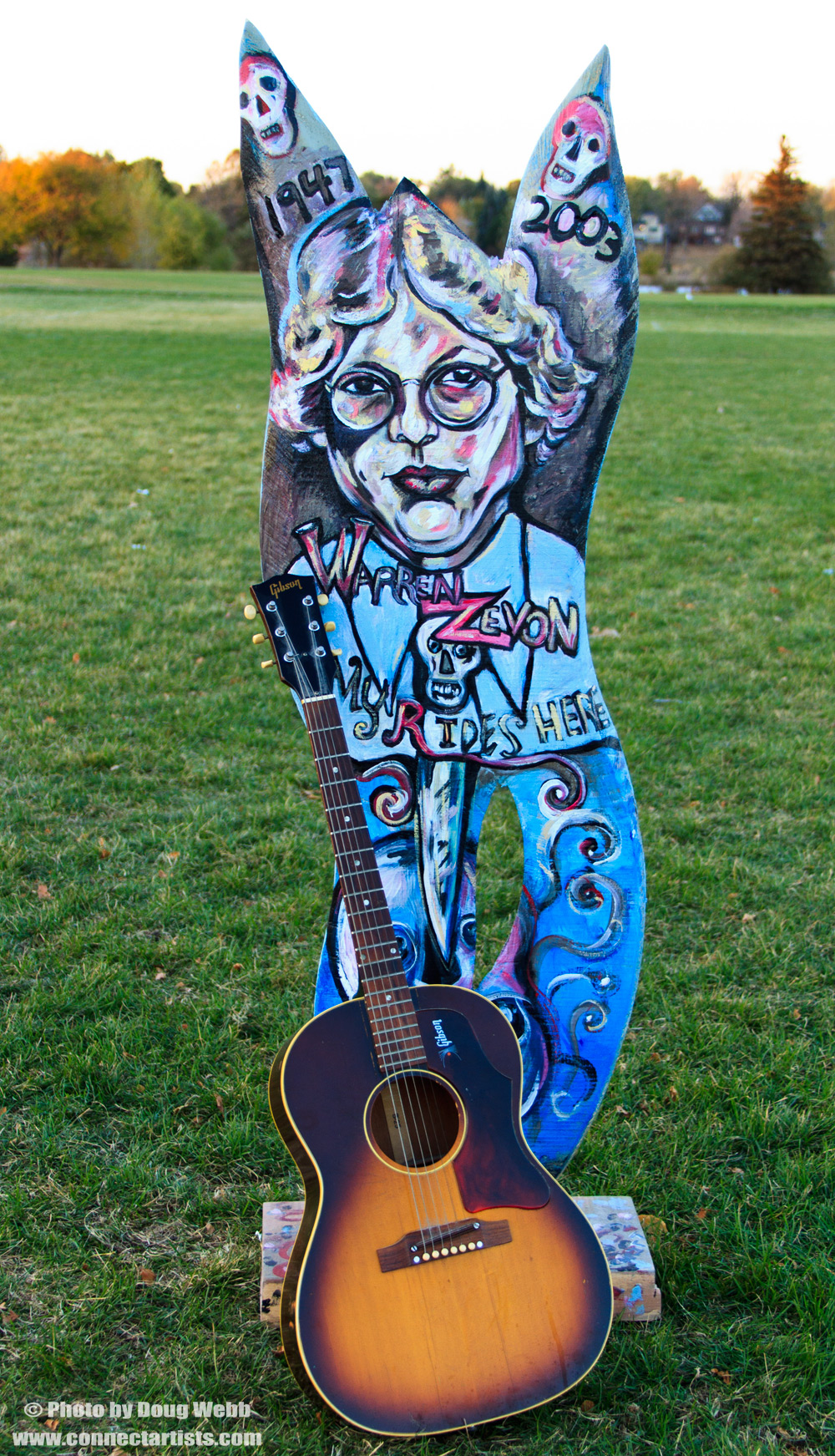 1968 Gibson B-25 Sunburst Acoustic Guitar / Warren Zevon Wood Carved Sculpture by Ross Olsen / Acrylic Painting by Gretchen Seichrist