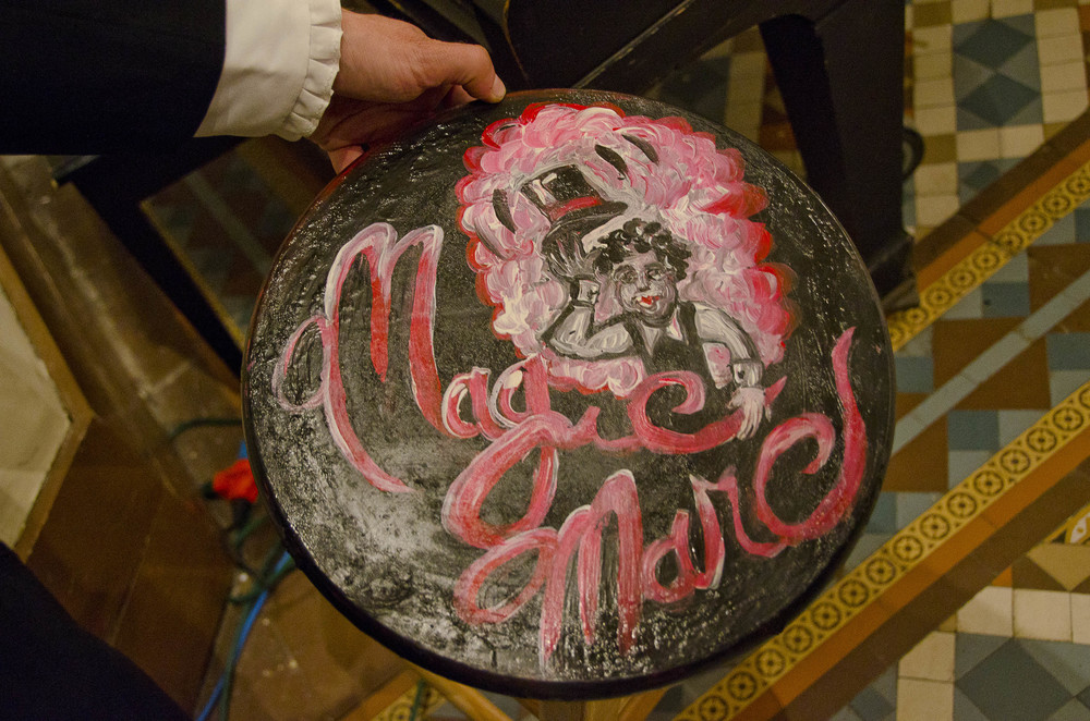 Magic Marc / Sacred Heart Music Center / Duluth, Minnesota / May 17th, 2014 / Acrylic Painting on Wood Stool by Gretchen Seichrist