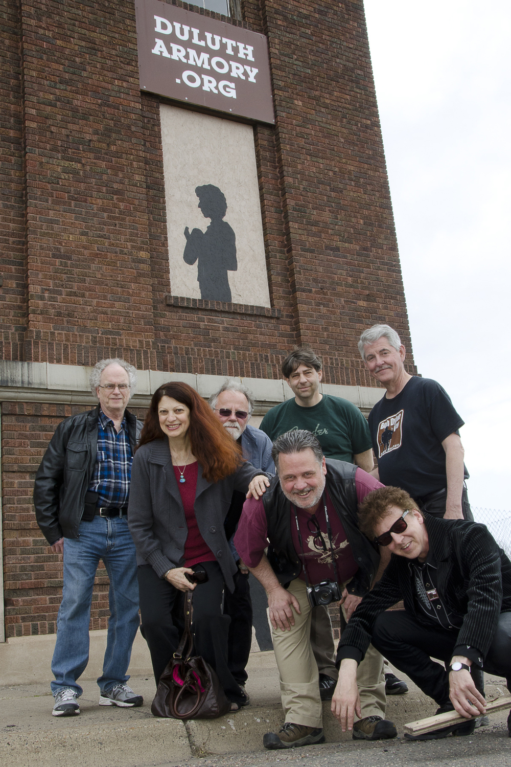 Bill Pagel, Scarlet Rivera, Gene LaFond, John Bushey, Ed Newman, Nelson T. French and Magic Marc / Outside The Armory / Duluth, Minnesota / May 18th, 2014 / Photo by Michael K. Anderson