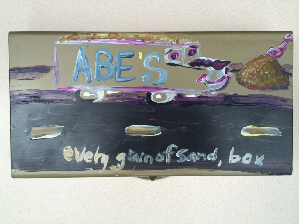 ABE'S every grain of sand, box / June 27th, 2014 / 8 x 15 Acrylic Painting on Metal by Gretchen Seichrist