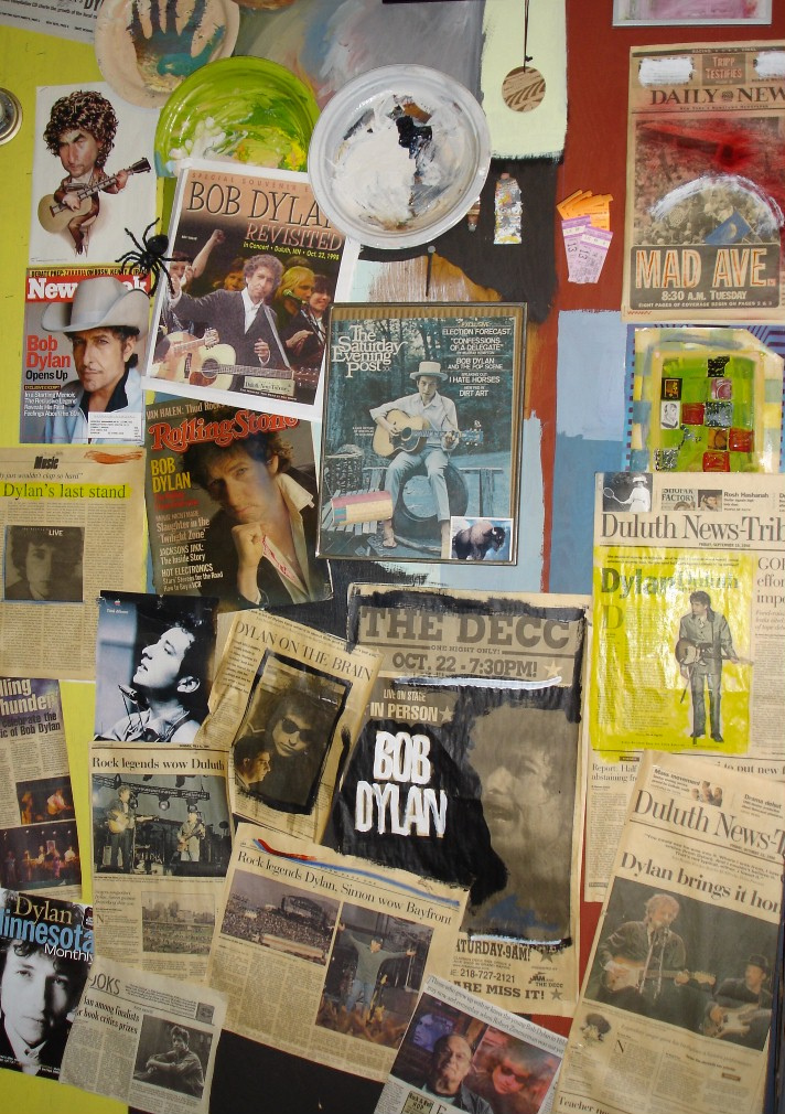 Miscellaneous Dylan memorabilia shot is from a wall in Ed Newman's garage and courtesy of Zane Bail