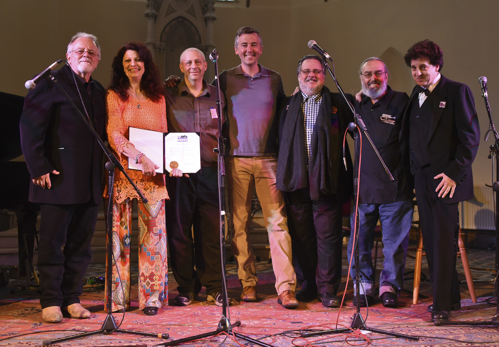 Gene LaFond, Scarlet Rivera, John Bushey, Mayor Don Ness, Nelson T. French, Billy Hallquist and Magic Marc / Sacred Heart Music Center / Duluth, Minnesota / May 23rd, 2015 / Photo by Michael K. Anderson