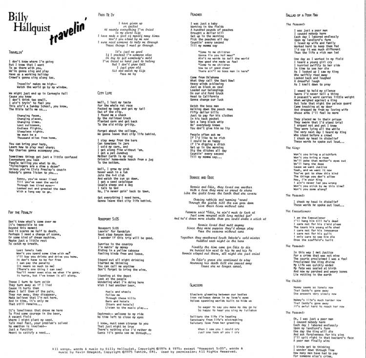 Billy Hallquist - Travelin' - Vinyl Liner Notes (1976) With Lyrics