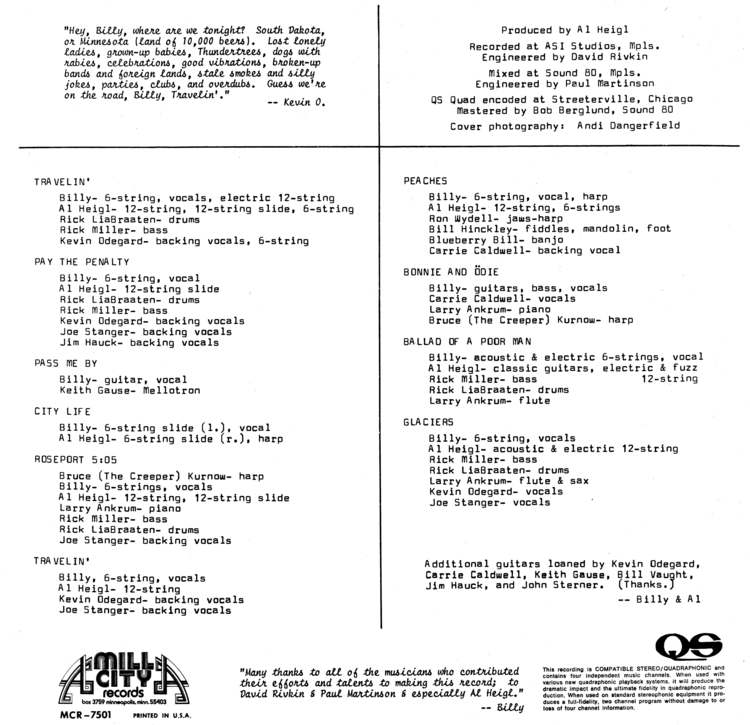 Billy Hallquist - Travelin' - Vinyl Liner Notes (1976) With Credits